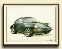 PRINT-Porsche 911 Black - Porsche classic - print watercolor painting art wall car decal auto Porsche -art - by Juan Bosco