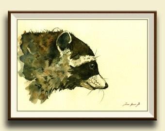 PRINT-Raccoon - raccoon nursery wall decal - print from original watercolor painting  - Art Print by Juan Bosco