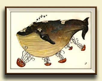PRINT-Whale with jellyfish - Art Print by Juan Bosco