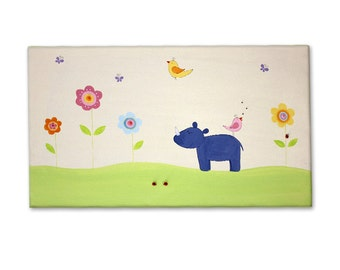 Nursery wall decal - Hand painted Canvas - Nursery artwork - Baby shower, Baby room - A Lovely Rhino with flowers