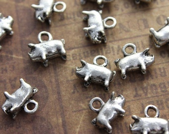 10 Tiny Pig Charms Tiny Pig Pendants Antiqued Silver Tone Double Sided 3D 17 x 7 mm
