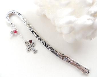 Cross Bookmark, Religious Bookmark, Beaded Bookmark, Metal Cross Bookmark, Books and Zines, Gift Idea. B165