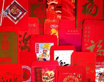 15 Assorted Vintage-Retro Lunar Chinese New Year Red Packets / Ang Pow / Hong Bao / Red Envelopes