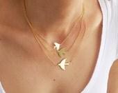Mystic Bird Necklace, Swallow Birds Jewelry, Triple Swallow Necklace, Three Birds Necklace, Statement Necklace, Bird Silhouettes Necklace