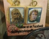 Star Wars Vintage Scrabble Tile Earrings, Han Solo, Chewbacca, movies, 1980's, Harrison Ford