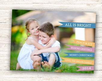 All Is Bright Holiday Card, Flags Christmas Card, Seasons Greetings, Merry Christmas Photo Card, 5x7 Printable #803