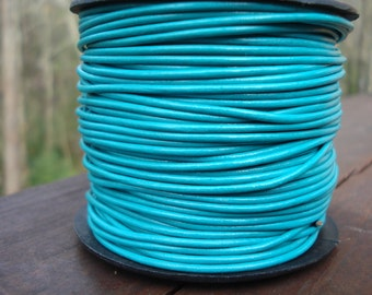 1.5mm turquoise leather cord, round turquoise leather, regularly dyed turquoise leather