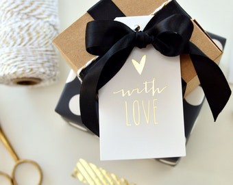 Gold Foil Hang Tags // Set of 12 with String