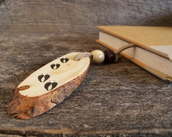 Rustic Bookmark with Moose Tracks. Wooden Bookmark with Animal Tracks. Handmade Bookmark. Moose Bookmark. Father's Day Gift. Animal Bookmark