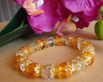 Amber stretchy bracelet Crystal stretchy bracelet Handmade bracelet