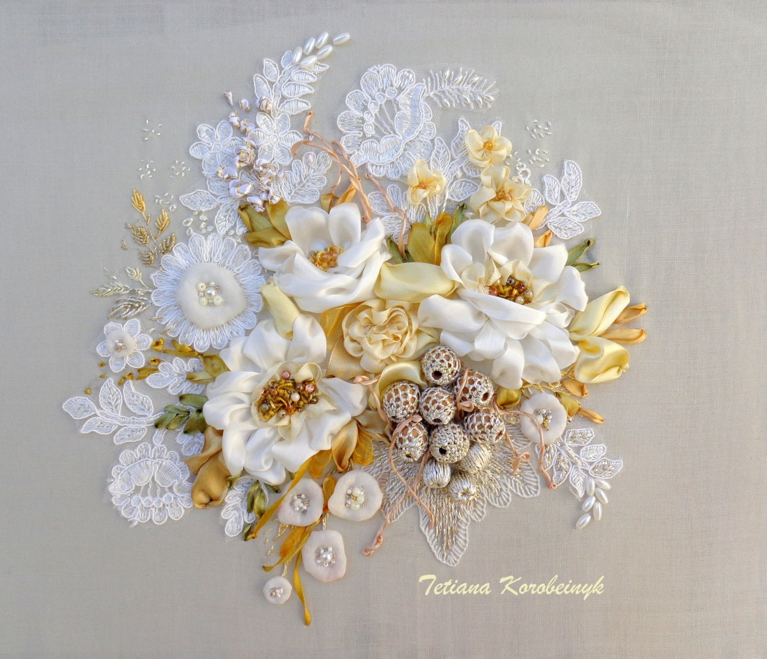 Silk ribbon embroidery picture luxury white made