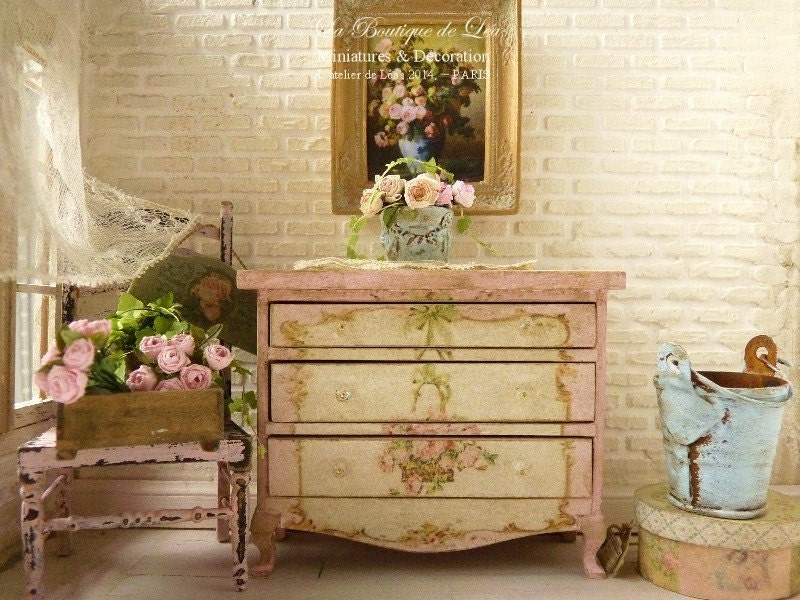 antoinette shabby pink and white chest of drawers