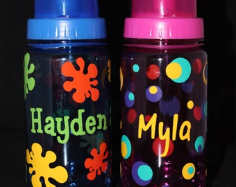 Personalized Colored Kids Water Bottles - Custom - Birthday - Gift - Party Favors - Travel - Lunch - School