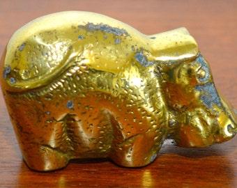 Vintage Brass Hippo