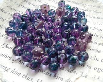 Beads, Purple, Glass, Round, Bumpy, 5mm, Jewelry Making. Filler, Spacer, Accent, Craft Supplies, Destash