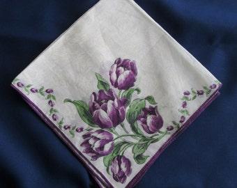 Vintage Floral PurpleTulip Print  Hankie