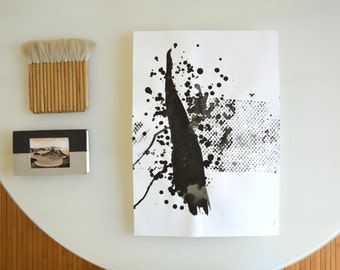 Original Fine Art Abstract Drawing-A3- Movement, wind, nature,black and white, ink dark,river, water,  by Cristina Ripper