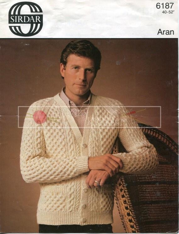 "Men's Cable Cardigan 40-52"" Aran Sirdar 6187 Vintage Knitting Pattern PDF instant download"