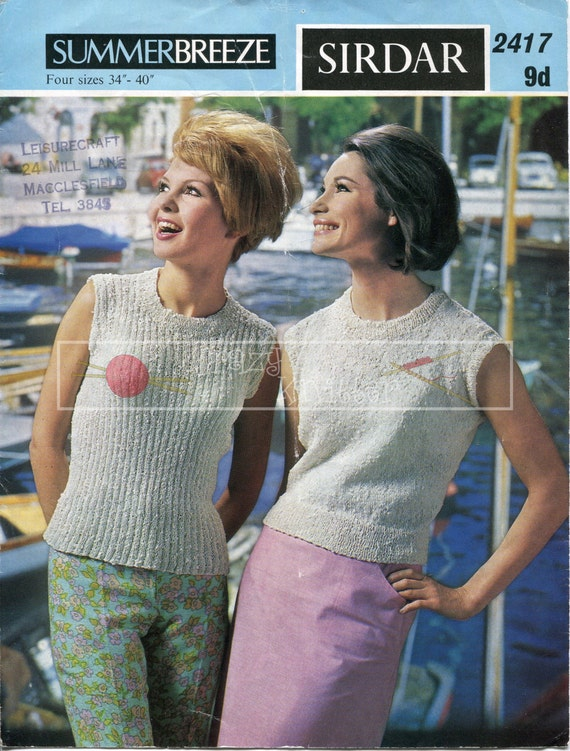 "Lady's Sleeveless Jerseys 34-40"" 4-ply Sirdar 2417 Vintage Knitting Pattern PDF instant download"