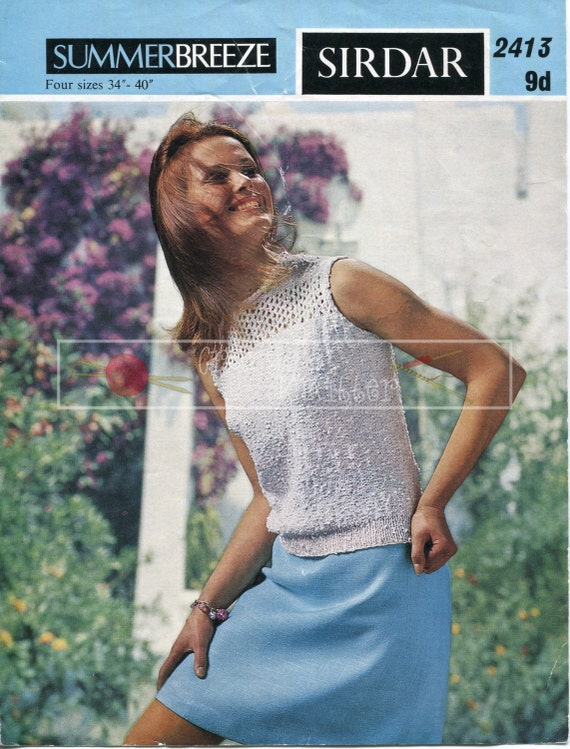"Lady's Summer Blouse 34-40"" 4-ply Sirdar 2413 Vintage Knitting Pattern PDF instant download"
