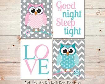 Owl Nursery Wall Art Girls Room Owl Decor Pink Aqua Wall Art Nursery Art Prints Good Night Sleep Tight LOVE print Toddler Girls Room #1112