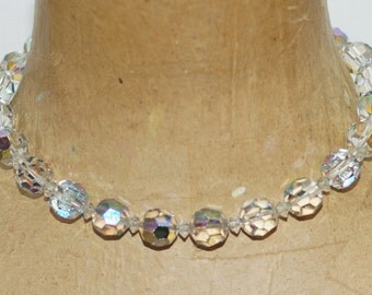 """Aurora Borealis Austrian Glass Crystal Beads Strung on a Silver Chain 16"""" Choker Necklace"""