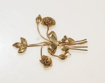 """Gold Plated Rose Flower Bouquet Posy 2.5"""" Pin Brooch"""