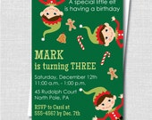 Little Elf Boy Holiday Birthday Invitation - Santa's Elf Birthday Party - Digital Design or Printed Invitations - FREE SHIPPING