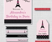Afternoon in Paris Birthday Party - Paris Birthday Printable Party Set - DIGITAL DESIGN