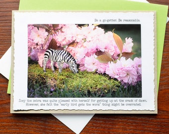 Greeting Card: Zebra Pink Flowers Early Bird Gets the Worm