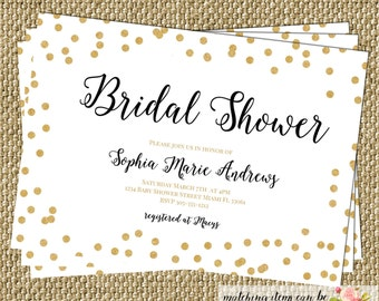 Gold Confetti Glitter Bridal Shower Invitation Modern Black White Gold Birthday Baby Shower Party CHOOSE WORDING