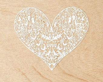 Laser-Cut Papercutting Artwork - White Floral Heart