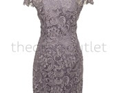 Lilac Mother of the Bride Wedding Evening Dress Plus Size Vintage Lace Cap Sleeve NX5064