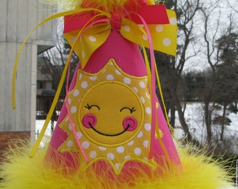 you are my sunshine  birthday hat, 1st birthday hat, Party hat