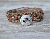Boho Crochet Wrap Bracelet . Sterling Button. Multi Color . Glass Beads . Wedding Gift . 5 Times Wrap Bracelet. Boho .