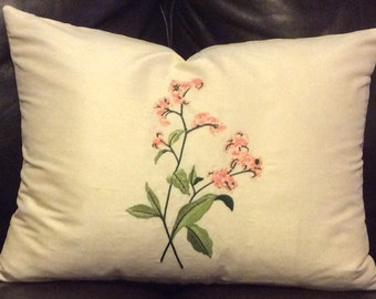 Silk embroidered pillow cover14x18in