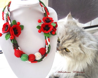 Ukrainian necklaces, necklaces with poppies, necklaces with poppies, handmade, necklace made of polymer clay