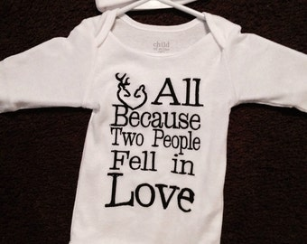 All because 2 people fell in love deer heart baby shirt with beanie