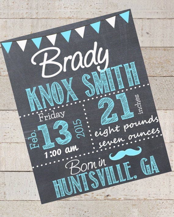 birth announcement chalkboard sign custom chalkboard sign. Black Bedroom Furniture Sets. Home Design Ideas