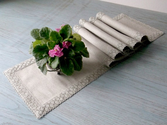 table linen tablecloth   Naural with flax lace table runner narrow linen fabric Long  runner