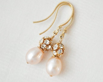Blush Pearl Earrings, Gold Bridesmaid Earrings, Blush Earrings, Gold Earrings, Bridesmaid Jewelry