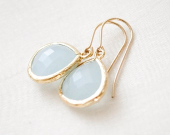 Bridesmaid Earrings, Soft Mint Glass Earrings, Gold Earrings, Bridesmaid Jewelry