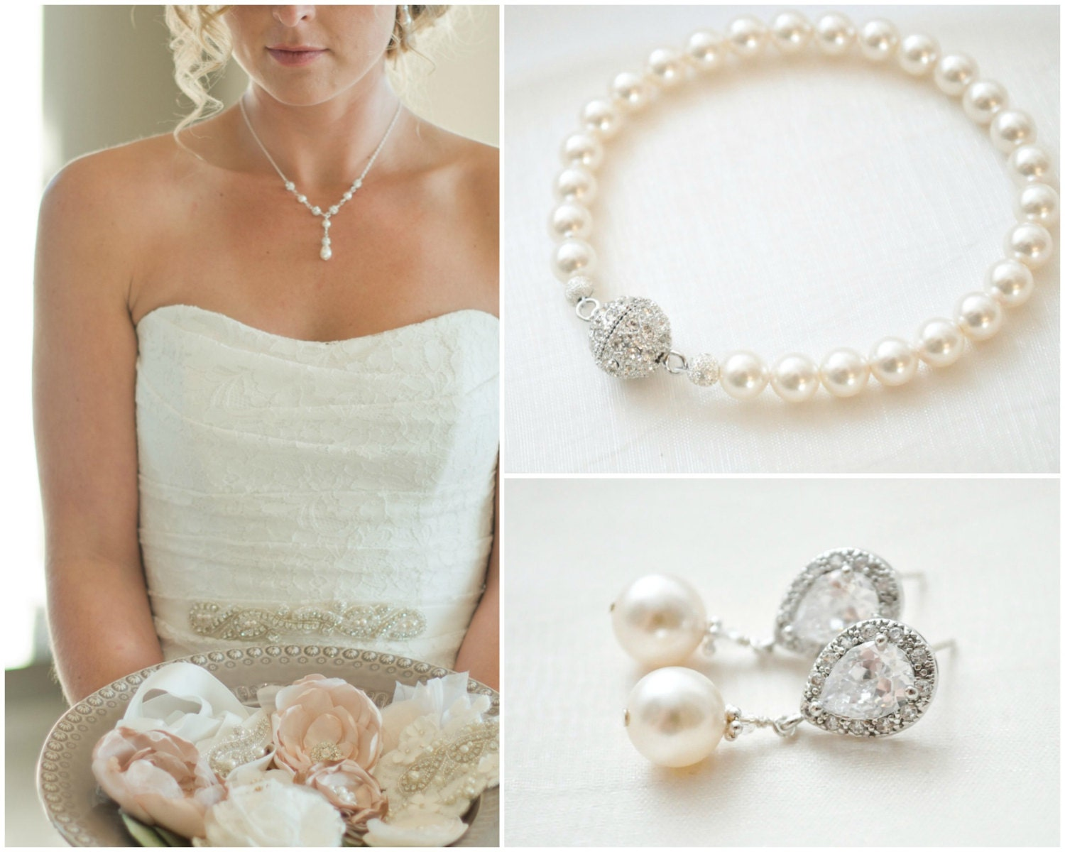 Bridal Jewellery SET Crystal Pearl Wedding Jewellery SET