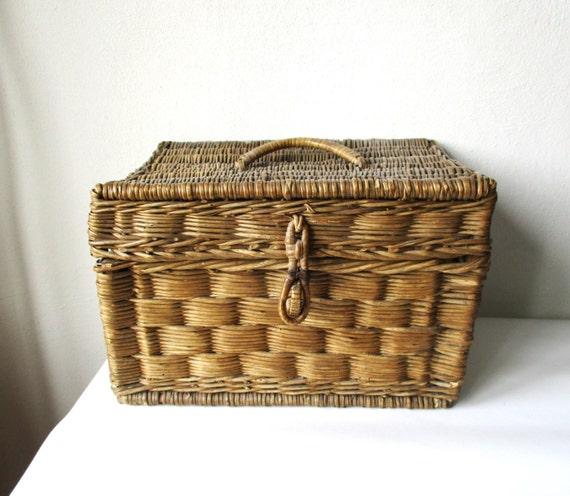 Wicker Box Antique Woven Basket Wooden Braided Storage Box