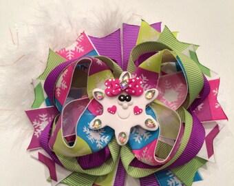 Winter snowflake boutique bow