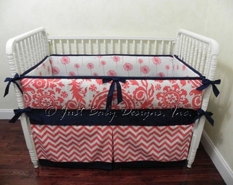 Coral and Navy Baby Bedding Set Ivana - Girl Baby Crib Bedding, Coral Crib Bedding with Navy