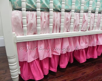 Pink Ombre Ruffle Crib Skirt