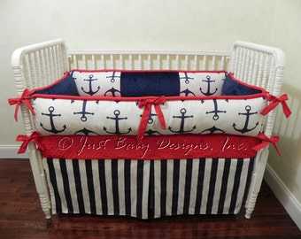 Nautical Baby Bedding Set Duff -  Boy Baby Bedding, Navy Anchors, Navy Stripes with Red