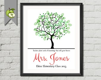 Teacher Appreciation Gift, Fingerprint class Tree, Personalised Thank you, Tree printable, family tree, printable tree, Kids fingerprints