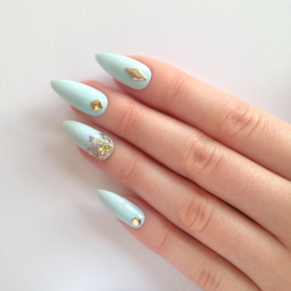 Pastel blue stud & glitter stiletto nails, Nail designs, Nail art, Nails, Stiletto nails, Acrylic nails, Pointy nails, Fake nails, False nai